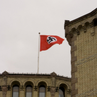 The Nazi flag raised on the Norwegian parliament